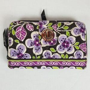 Vera BradleyTurn lock wallet in plum petals